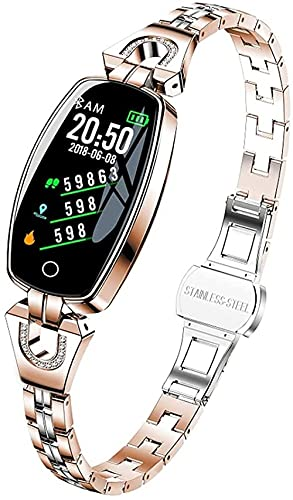 Reloj inteligente señoras 2021 para Android iOS impermeable fitness pulsera señoras reloj inteligente sueño ritmo cardíaco monitoreo regalo-oro