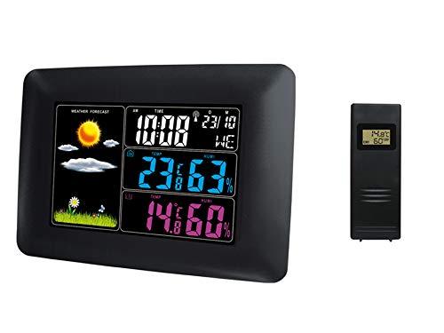 froggit WS60 SE Funk - Farb Wetterstation mit 1Thermo- Hygrometer Außensensor, Funkuhr, Wecker, Wettervorhersage (erweiterbar mit bis zu 3 Funksensoren)