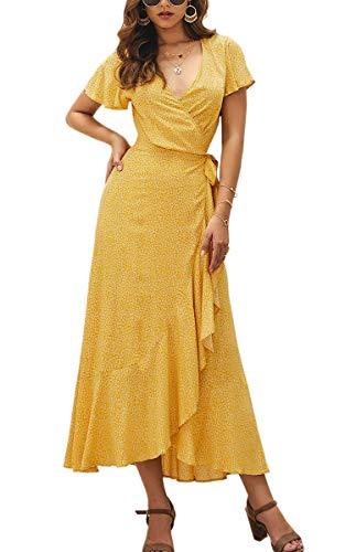 Spec4Y Damen Boho Lange Kleider V-Ausschnitt Sommerkleider Kurzarm Wickelkleid Maxikleid Strandkleid mit Schlitz Gelb S