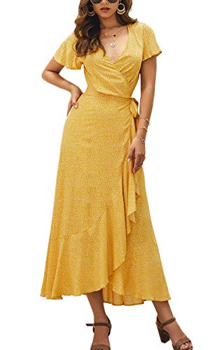 ECOWISH Women's Dresses Bohemian Wrap V Neck Short Sleeve Ethnic Style High Split Beach Maxi Dress 023 Yellow Large