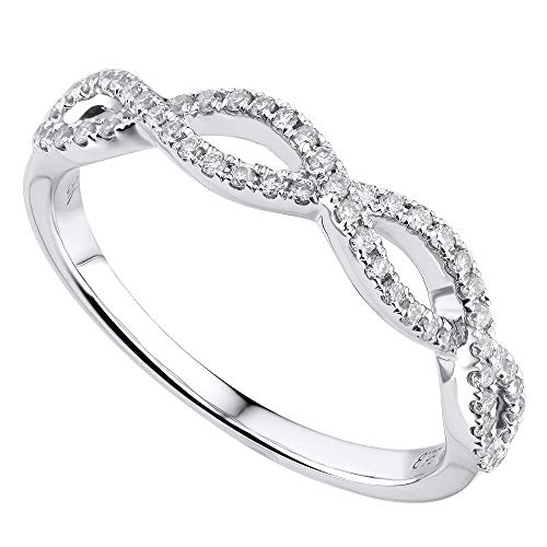 Rachel Koen 18K White Gold 0.25cts Genuine Twist Diamond Pave Ladies Ring Sz 6.5