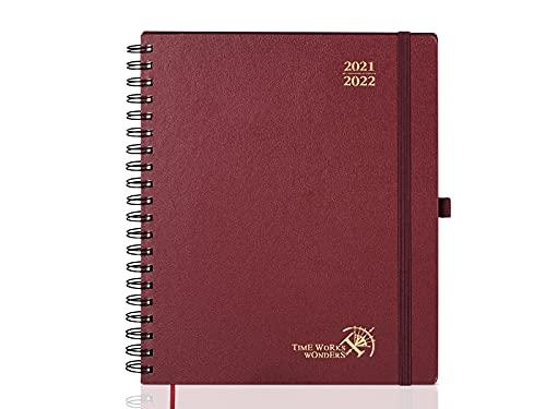 Agenda 2021 2022 Semana Vista Aprox. A4 - Agenda Escolar 2020-2021 Espiral(agosto 2021 - agosto 2022) con Páginas de Notas y Dirección, 21 x 26,5 cm, Borgoña