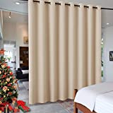 RYB HOME Decor Freestanding Office Partition Wall Divider, Contemporary Blackout Curtain Panel Anti-Rust Grommet Top for Home Theatre / Bedroom / Storage, 8 ft Tall x 15 ft Wide, Cream Beige, 1 Piece