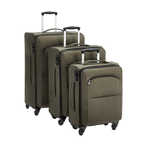 Amazon Basics Urban Softside Spinner Luggage, 3-Piece Set, Green