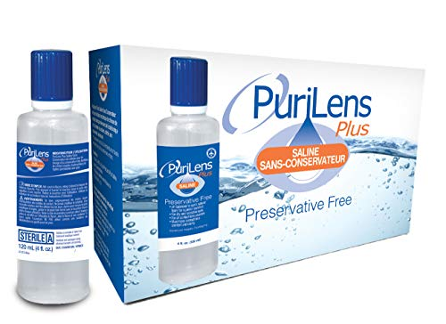 PuriLens Plus Preservative Free Saline 4 Fl Oz bottles, Pack of 12