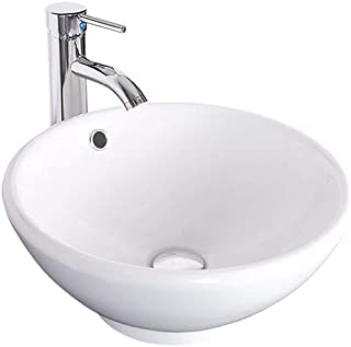 eclife Bathroom Vessel Sink Round Ceramic Bowl White Porcelain Vessel Sink and Faucet Combo for Bathrooms Sink Bowl & Pop Up Drain Chrome A06