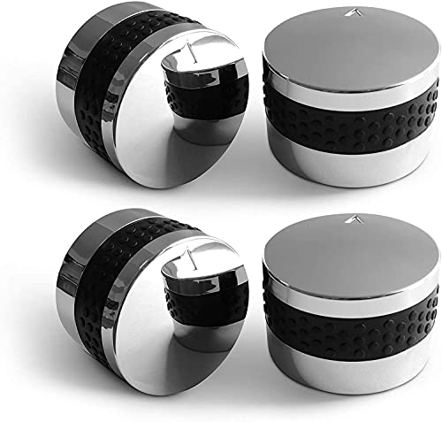 Unicook Grill Control Knob, 4 Pack Gas Burner Replacement Knobs, Chrome Plated Plastic with Nonslip Grip, Fits BBQ Gas Grills with D Shaped Valve Stem, Including 4 Knobs and 12 Adaptors