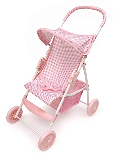 Badger Basket Folding Doll Umbrella Stroller (fits American Girl Dolls) - Pink Gingham
