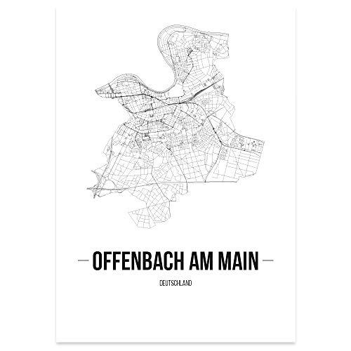 JUNIWORDS Stadtposter, Offenbach am Main, Wähle eine Größe, 60 x 90 cm, Poster, Schrift B, Weiß