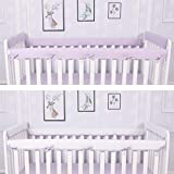 CaSaJa 4-Piece Soft Reversible Crib Rail Cover Set for Entire Crib Rails, Safe Breathable Padded Batting Inner for Baby Teething Guard, Fits Up to 8' Around or 4' Folded, Lilac/White Color