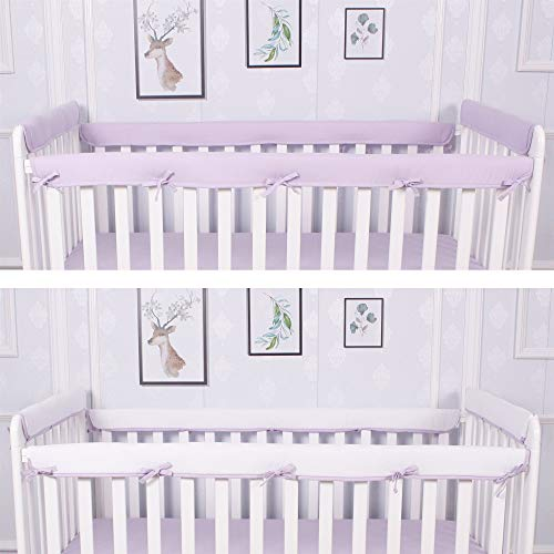 """CaSaJa 4-Piece Soft Reversible Crib Rail Cover Set for Entire Crib Rails, Safe Breathable Padded Batting Inner for Baby Teething Guard, Fits Up to 8"""" Around or 4"""" Folded, Lilac/White Color"""