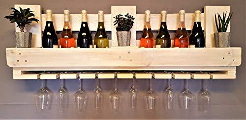 Weinregal aus Palette vintage weiß Flaschenregal Weinflaschenregal Wandregal Regal Hängeregal Palettenregal Palettenmöbel Bar Holzregal Shabby