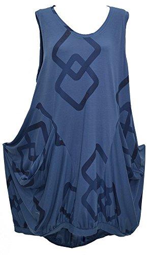 Kekoo Lagenlook Tulpenkleid / Tunika, ärmellos, Übergrößen S-M-L, Brustumfang: 111,8–142,2 cm Gr. L, blau