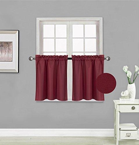 GorgeousHomeLinen (RS5) 1 Panel Drape Rod Pocket Faux Silk Small Short Window Treatment Curtain Insulated Blackout Panel 30
