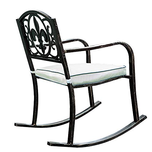 Outdoor patio yard rocking chair, Metal frame garden furniture rocking chair, Iron swing chair with armrests and backrest, load capacity 660 pounds, The perfect chair for yard, porch and living roo