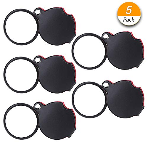 Dreamtop 5 Pack 10X Mini Magnifying Glass Pocket Magnifying Glass 50mm Folding Pocket Magnifier Loupe with Rotating Protective Holster for Reading Maps, Lables, Crafts