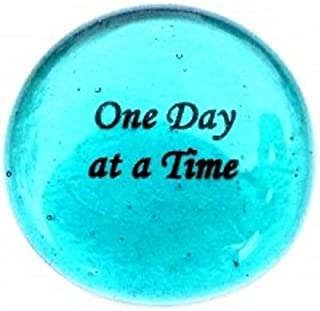 One Day At A Time Colored Glass Imprinted Recovery Sobriety Stones