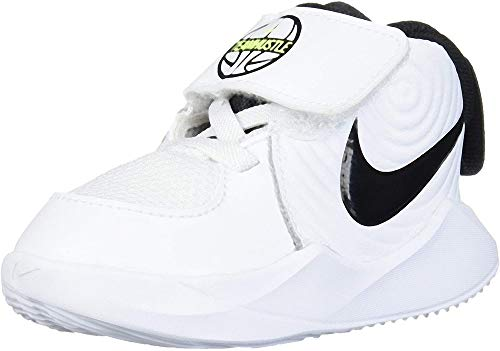 Nike Unisex-Baby Team Hustle D 9 (TD) Basketball Shoe, White/Black-Volt, 27 EU