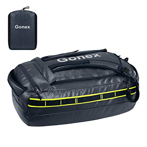 Gonex 40L Water Repellent Duffel Bag Backpack Outdoor Heavy Duty Duffle Bag with backpack straps for Hiking Camping Travelling Cycling for Men Women Dark Blue