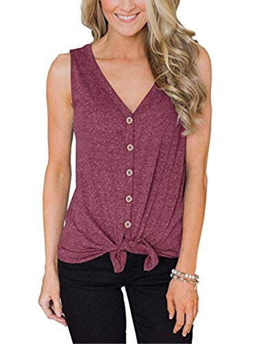 Barlver Womens Summer Tank Tops Casual Athletic Tie Knot Front Button Down Cotton Sleeveless Tunics Tops(Red-4020 S)