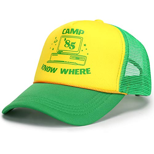 9Lucky Tech Camp 85 Know Where Baseball Cap Stranger Cosplay Things Merchandise Dustin Hat Retro Mesh Snapback Adjustable Cap (Green)