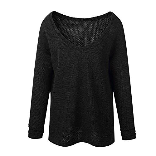 Kabxryaclo - Jersey para mujer, talla grande, punto liso, cuello en V, base suelta, punto