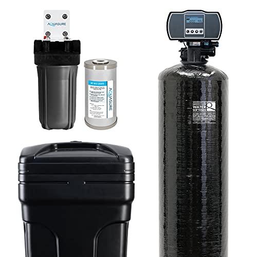 Aquasure Water Softener w/Aquatrol Digital Head and 10' Sediment/GAC/Zinc Triple Purpose Whole House Water Filter (64,000 Grains)