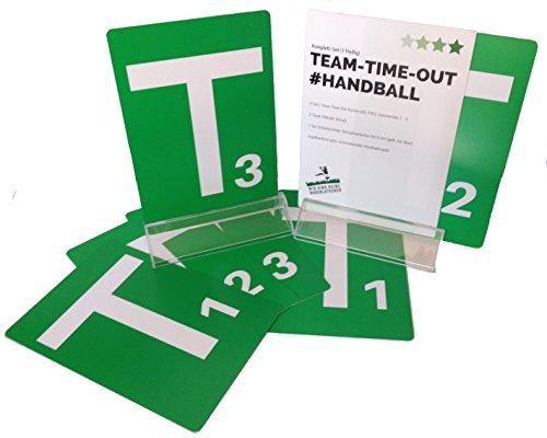 Handball Team Time Out Tafel Komplett Set, 6 Grünen Karten A5, PVC mit abgerundeten Ecken, nummeriert T1, T2 und T3 gem. Handballregeln, inkl. Acryl - Standfuss und Schiedsrichterkarten