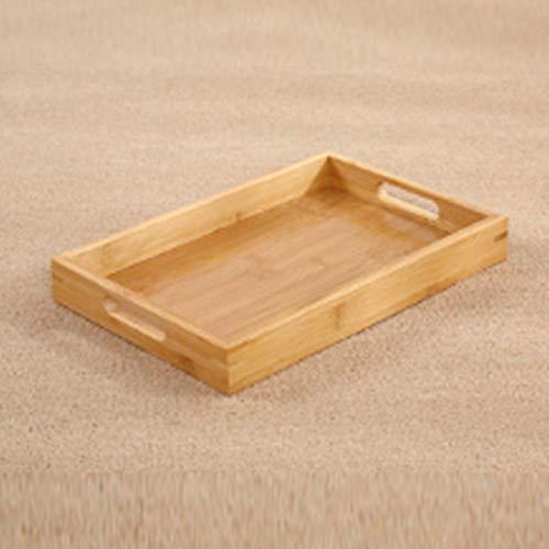 Faderr Bandeja para servir té y desayuno, bandeja de bambú rectangular para el hogar, agua, cocina, madera, ideal para el desayuno en cama y té con asas de transporte (tamaño: 30 x 20 x 4 cm)