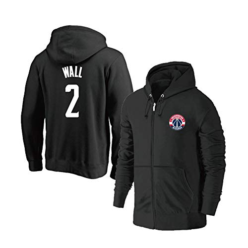YUNAN Herren Basketball Jersey Hoodie Washington Wizards #2 John Wall Kapuzenpullover Zipper Training Jersey für Sport und Freizeitkleidung - Schwarz-XXXL