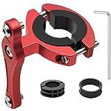 HONZUEN Bicicleta Adaptador para Soporte para Botellas de Aluminio, Ajustable Tija de Sillín Manillar Clip Holder Mount Clip Soporte de Adaptador de Portabidón para Bicicleta Cochecito, Rojo
