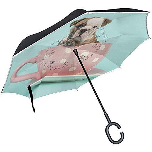 Mike-Shop Umgekehrter Regenschirm-Auto-Rückseiten-Regenschirm-englischer Bulldoggen-Welpe in der Schale winddichter UVbeweis-Reise-im Freienregenschirm