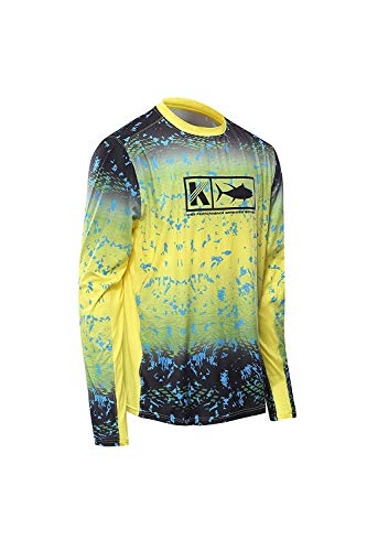 Performance Fishing Shirt Vented Long Sleeve Shirt Sun Protection UPF50 Moisture Wicking Rash Guard with Mesh Sides Loose Fit, Fade Yellow,Large