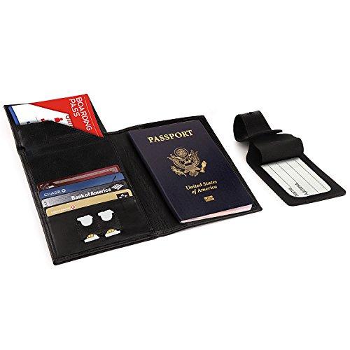 Otto Angelino - Porta Pasaporte de Cuero Real - Bloqueo de RFID, Compartimiento para Billetes de avión + Etiqueta para Equipaje (Negro)