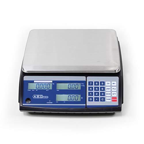 ABDPRO ABD Balance - Balance de Commerce Poids-Prix Portée 30 kg/Précision 10 g - Balance Professionnelle Haute Qualité - Plateau 204 x 263 mm - 3 Afficheurs - 10 PLU - Autonomie Jusqu'à 60 h