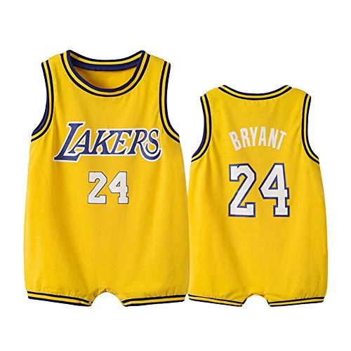 Camiseta de baloncesto infantil Lakers Nº 24 bebé de una sola pieza de algodón jersey de una sola pieza, uniforme de baloncesto sin mangas (0-36 meses), 123, amarillo, 59