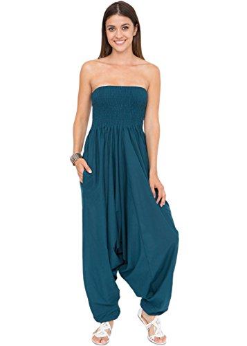 likemary likemary Extraweite Damen Haremshose - Einteiler aus Baumwolle - Jumpsuit Overall - Pluderhose mit Bandeau Oberteil - Größen 36 bis 44 - Vielseitig anpassbar blau grünblau