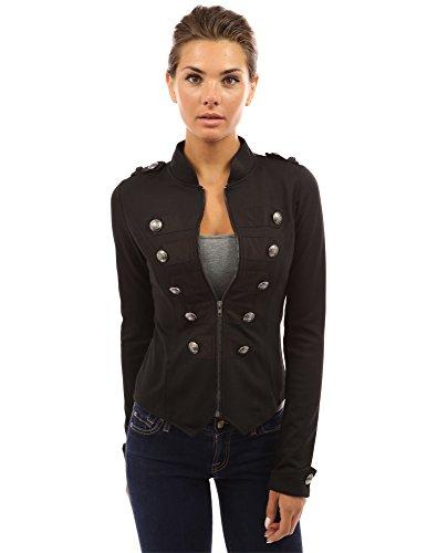 PattyBoutik Mujer zip cuello alzado frontal chaqueta ligera militar (negro 36)