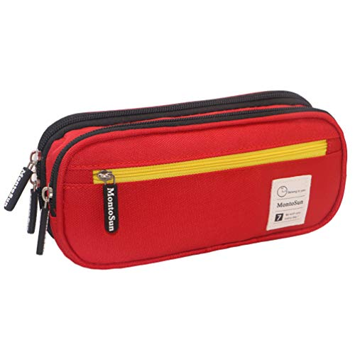 MontoSun Pencil Case Big Capacity Pencil Pen Case Bag Pouch Holder Large Storage Stationery Bag Desk Organizer for Pens Pencils Markers Cosmetic Brush Girls Boys Adults School Office Supplies, Red