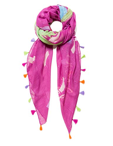 Desigual Rectangle Foulard Brushes Woman Red Sciarpa, Rosso (Morado 3017), Unica (Taglia del Produttore: U) Donna