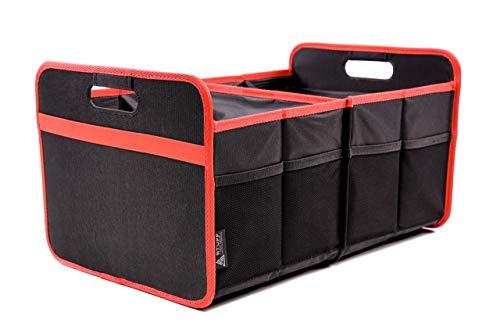 stuff from above® rote-Kofferraumtasche, groß, aus Polyester (57x35x30cm) Kofferraum-Organizer-Auto mit Klett - Zubehör für Kofferraum Falttasche Einkaufstasche Box Ordnungssystem Tragetasche