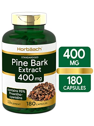 Pine Bark Extract 400mg | 180 Capsules | Triple Strength | 95% Proanthocyanidins | Non GMO, Gluten Free | by Horbaach