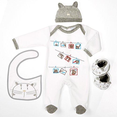 Les bébés d'Elyséa Coffret Cadeau avec Motif Chat Gris 12 Mois