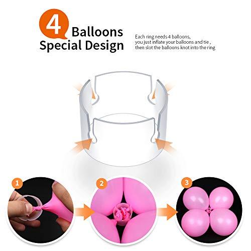 Teenitor 120 PCS Decorative Decor Balloon Rings Buckle Balloon Arch Folder Convenient Clip Connector