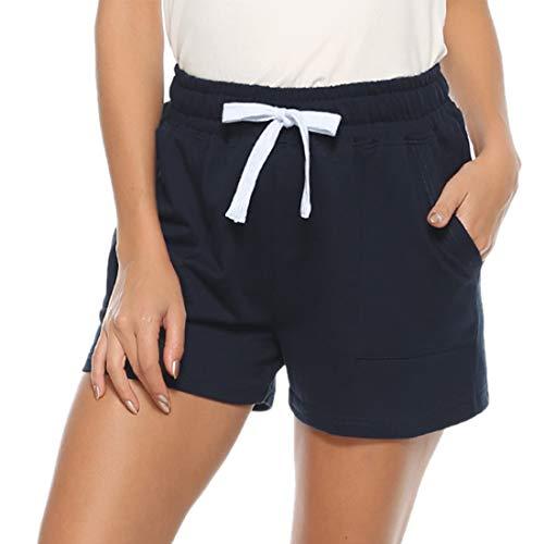 Hawiton Pantalones Cortos Mujer Verano Pantalón de Algodón Elástico Shorts Casual para Mujer
