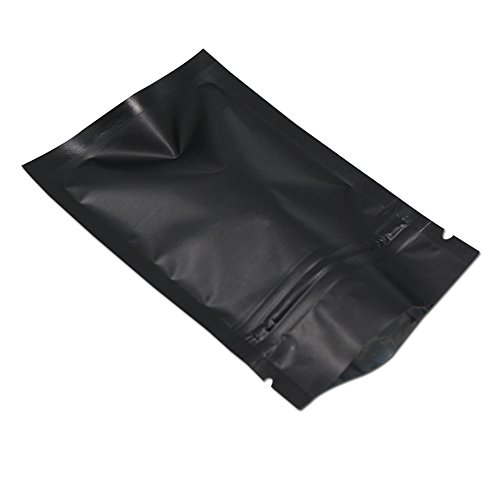 100 Stücke Matte Aluminiumfolie Verpackung Tasche Reißverschluss Selbstdicht Flachbeutel Kaffeepulver Tee Lagerung Geruchsneutral Mylar Beutel (Matt Schwarz, 12x18cm (4.7x7.1 inch))