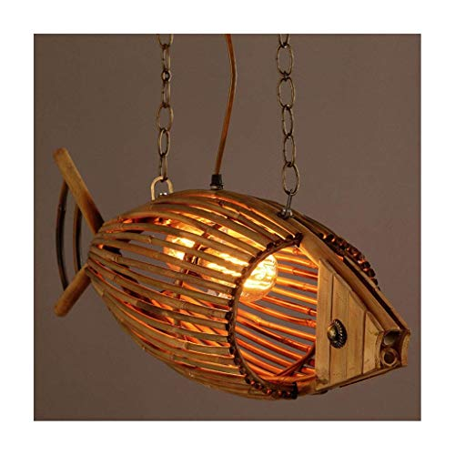 Lampadario Design Moderno Pesce Di Bambù Creativo Ristorante Cafe Bar,Plafoniera Lampade A Sospensione Tessuti D'epoca[Classe Energetica A +++]