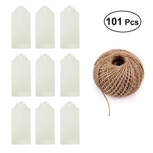 Supvox Tarjeta de Papel Etiqueta de papel Etiquetas de Regalo Cuadrado Blanco en 101 piezas/Paquete de 9x4 cm (etiqueta de papel blanco de 100 piezas y cuerda de cáñamo de 1 pieza de 30 M/rol)