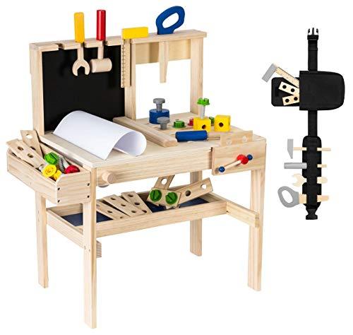 mamabrum Werkzeugkasten und Zubehör Set Schreibtisch, Werkzeugbank für Kinder Spielzeugspiel, Holzarbeitsbank für Kinder, Werkzeuge und Zubehör Inklusive Spielzeug für Jungen und Mädchen