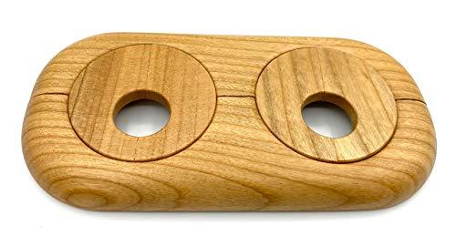 Doppel-Rosette für Heizungsrohre, Rohrabstand variabel, Echtholz: Ahorn, Buche, Eiche, Nuss, Abdeckung, Heizkörper, 15mm, 19mm, 22mm, Holz, Parkett, Holzrosette (19mm, Kirsche)